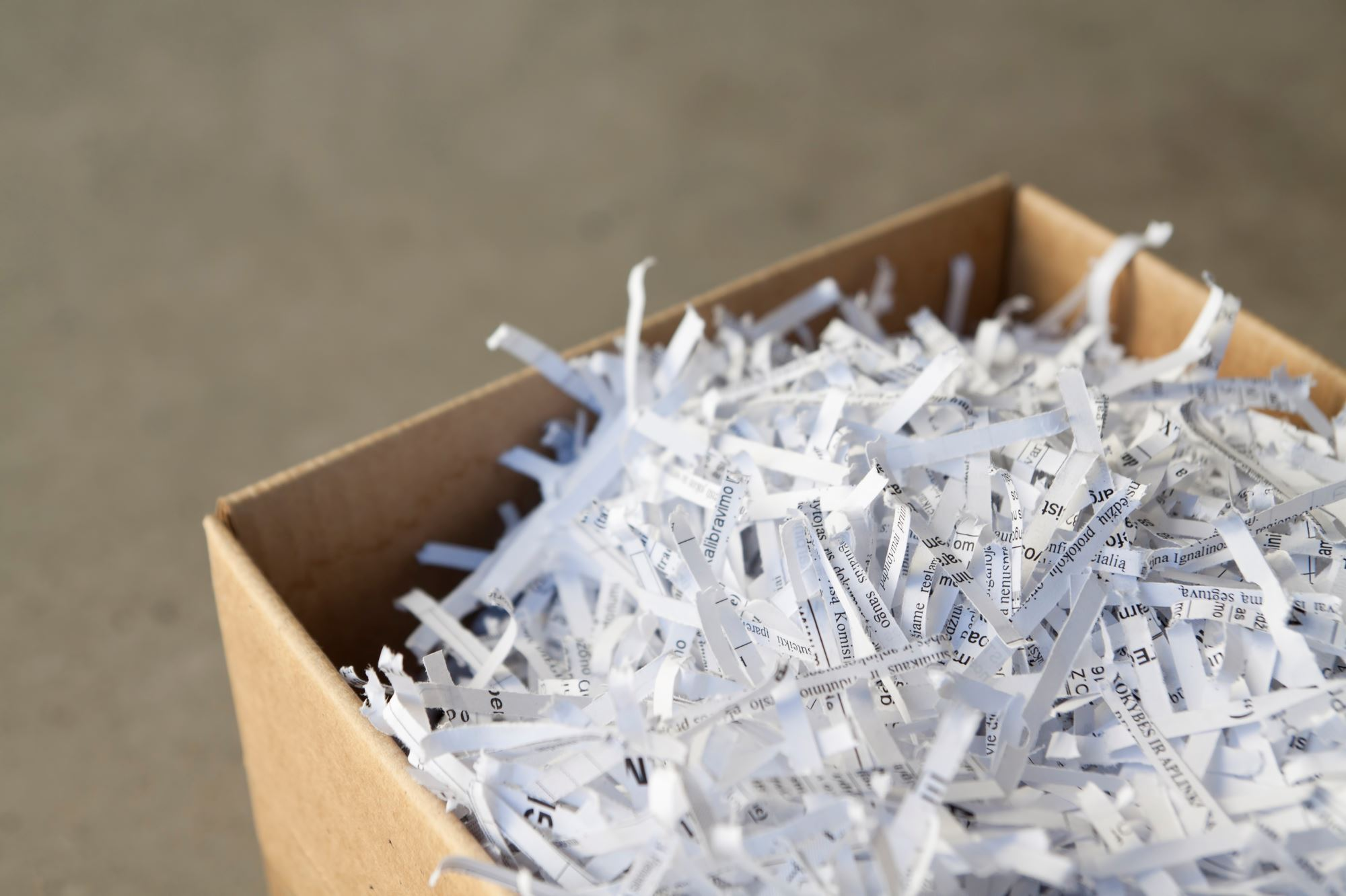 Box of shredded paper