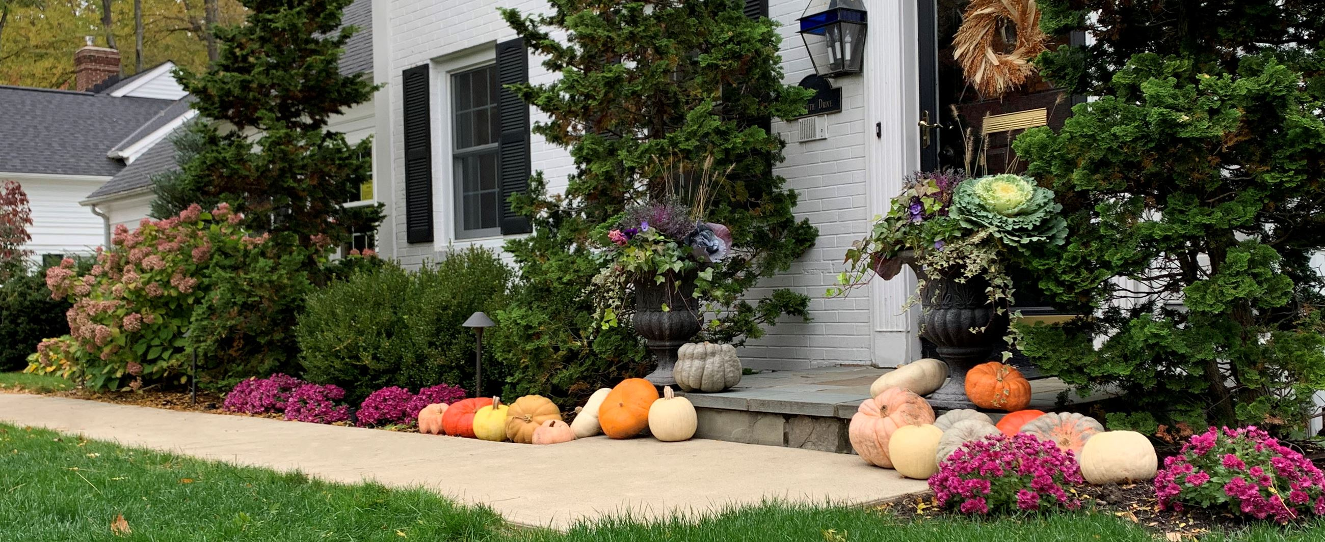 Photo of fall pumpkins in front of a home